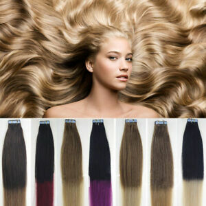 """7A 14""""-24"""" 20/40pcs Tape in Remy Human Hair Extensions Skin Weft Full Head AUS"""