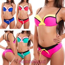 Bikini donna costume bagno mare due pezzi culotte push up curvy nuovo DY7355