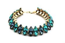 B420 Betsey Johnson Rhinestone Blue and Green Gemstone Bridal Chain Bracelet US
