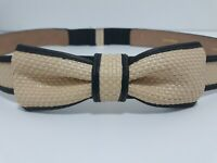 KATE SPADE NEW YORK Woven LEATHER in THE LOOP BOW BELT Tan & BLACK Women's XL