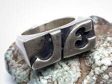 Chunky Band Ring (Size 7.75) Vintage Modernist Solid Sterling Silver Initials