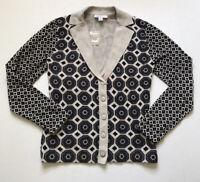 Isaac Mizrahi Live! Sz XS Black Gray Mixed Patterned Knit Cardigan NWOT