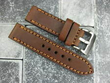 24mm SOFT COW LEATHER STRAP Brown Watch Band Copper Stitch PANERAI 24