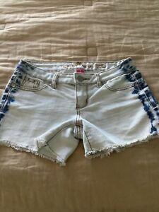 almost Famous Cravefame size 3 Distressed Blue Jean Shorts Tye Dye Sides