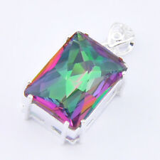 21x15mm Xmas Gift Gorgeous Jewelry Rainbow Mystic Topaz Silver Necklace Pendants