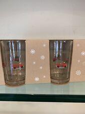 New Pottery Barn Woody Car Christmas Tree Glasses Set Of 4