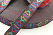 red blue yellow green black navajo aztec ribbon trim 17mm wide 2m 2 metres