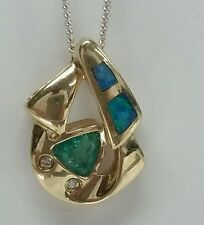 14k yellow gold opal inlay gems Colombian Emerald pendent fine jewelry 17x11mm