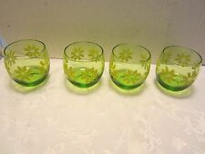 Atomic Set 4 Roly Poly Green Glasses daisies Mid century Flower Power 11 Oz. Vtg