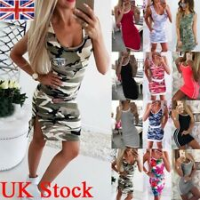 Women Camo Sleeveless Bodycon Mini Dress Ladies Summer Beach Party Vest Dresses