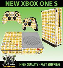 XBOX ONE S SLIM Console Sticker Emoji Smiley Face Emoticon SKIN & 2 PAD SKINS