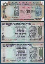India 100 Rupees 6Pcs Set, 1979 1996 2008, P 86h 91b 91c 91d 91i 98d, AU UNC