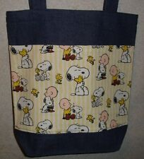 NEW Large Denim Tote Bag Handmade/w Snoopy Charlie Brown Woodstock Yellow Fabric