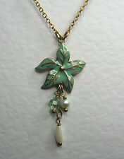 """GREEN ENAMEL FLOWER PENDANT NECKLACE MATT GOLD PLATED WITH PEARL DANGLES 14 -17"""""""