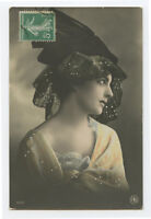 1910s French Glamour Glamor HAT FASHION Lady deco photo postcard