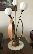 VTG Danish Mid Century Modern Teak Wood Brass Tulip Table Lamp Eames Era  Retro