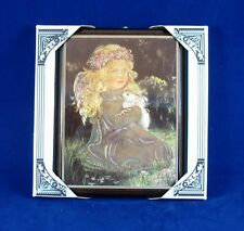 Carglow Decorative Wall Plaque Girl in Garden with Rabbit Wood Frame Nwt