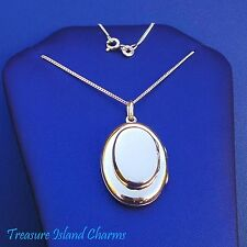 """OVAL DOUBLE LOCKET PENDANT 4 PHOTOS .925 Solid Sterling Silver Necklace 16"""" 18"""""""