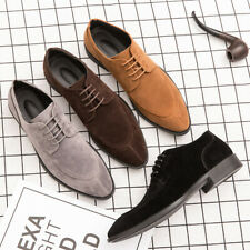 Men Suede Pointed toe Lace up British style Shoes Business Casual Ankle Boots SZ