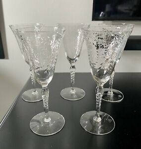 Vintage Etched and Cut Crystal Stemmed Wine/Champagne Glasses-Lot of 5