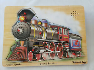 Melissa and Doug Wooden Sound Puzzle Train #341 9 Pieces Tested & Working
