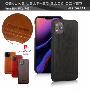PIERRE CARDIN Genuine Leather For Apple iPhone 11 Pro Max 11 Case Cover Hard PC