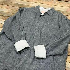 Inserch Collezione Uomo 100% Linen Shirt 2XL Gray Flip Cuff Roll Up