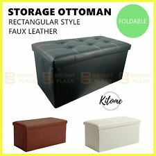 Large Folding Ottoman Storage Footstool Stool Box Pouf Seat Faux Leather Rect.