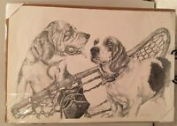 2 Alaskan Guide dog?  Pencil Sketched / Drawn by Freddie & P.D., Signed D.G.Lee