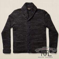 $490 RRL Ralph Lauren Made in USA Navy Wool Cotton Sweater Cardigan-MEN- L