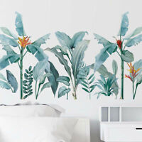 Removable Wall Stickers Tropical Plants Foliage Leaves Flowers Wall Decor DIY