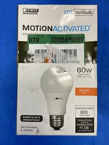 Feit Electric - 60-Watt Equivalent A19 Motion Activated, Soft White