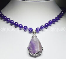 Natural Amethyst Teardrop Pendant 8mm Purple Round Beads Gems Necklaces JN556