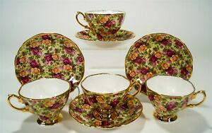 Royal Albert Old Country Roses OCR Chintz Collection 4 Footed Cups & Saucers