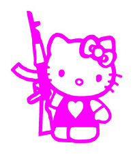 Hello Kitty Pink With Gun Vinyl Graphic Decal Car Window Bumper Sticker Unique!!