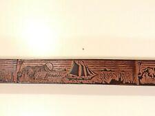 Vintage Handmade Genuine Leather Belt Size 34 Sailing Ships Made In Hawaii Usa