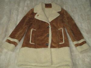 ZARA Girls Size 11/12 Faux Shearling Chestnut Suede Button Warm Winter Coat