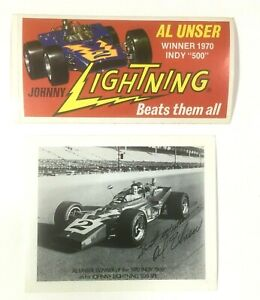 Al Unser B & W Photo Red Sticker Lot Of 2 Johnny Lightning Winner 1970 Indy 500