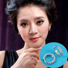 Charming Jewelry White Topaz Gemstones Crystal Silver Plated Hoop Earrings