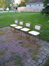 Set of 4 Vintage Retro Folding Chair heavy Metal Padded Seat / Back folding legs