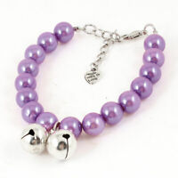 Purple Imitation Pearl Linked Lobster Clasp Pet Dog Collar Necklace Size S