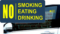 2 x Reverse Warning Sticker No Smoking Eating Drinking Car Taxi Window YELLOW +