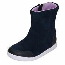 Girks Clarks 'Emery Rise T' Navy Suede Leather Boots - G Fitting