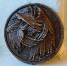 RARE 38mm Vintage carved burwood button~Schnauzer dog~Scotty Terrier dog