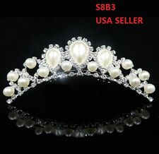 Wedding Beautiful  Imitation Pearl Rhinestone Bridal Crown Tiara Hair Comb S8B3
