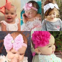 Kids Girls  Headband Wrap Flower Bow Knot Elastic Headdress Hair Band Newborn