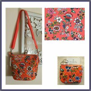 NWT Vera Bradley Carson Mini Hobo Crossbody Bag + Coin Purse in Coral Floral