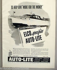 Auto-Lite Boat Battery & Spark Plug PRINT AD - 1948 ~~ Elco 40' Express Cruiser