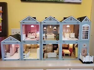 2001 Laura Ashley Dollhouse 9pcs Room By Room W/ Light & Sound