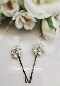 Handcrafted Wedding Hair Pins grips Bridal Bridesmaid Rhinestones Prom boho x 2